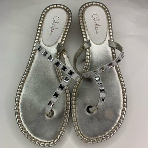 Cole Haan Silver Sandals with rhinestones Size 7